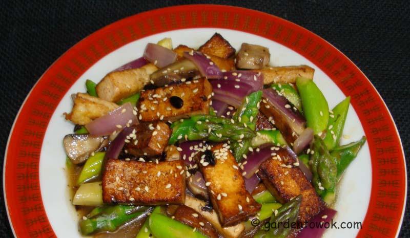 Marinated Tofu, Asparagus & Portabella Mushroom Stir-fry | Garden to ...