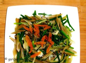 Stir-fry Swiss chard & Chinese chives flowers